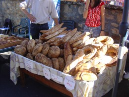 Bread and croissants for sale