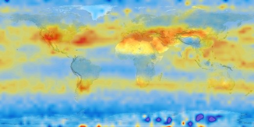 CO2 concentrations as observed in the middle level of the lower atmosphere in 2003 by the AIRS satellite observation program.  Satellite observations give unprecedented detail about many crucial aspects of Earth's climatic systems. Image courtesty NA