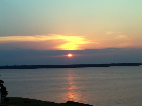 Sunset in Texas over the lake.