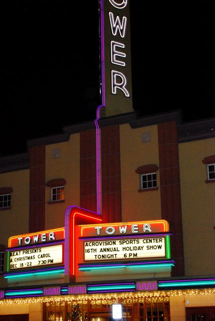 The Tower Theater at night before my daughter's gymnastics exhibition (c) Stephanie Hicks