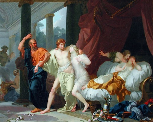 Socrates dragging Alcibiades from the embrace of sensual pleasure (Jean-Baptiste Regnault)