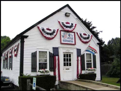 "This is the library I went to in the 6th grade, now turned into the ""4th of July Headquarters"", Wilmington, MA"