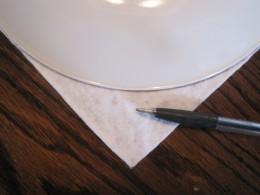 A dinner plate makes a nice curve for a crochet edge.