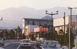 View of the mountains from the JR station, Nikko.