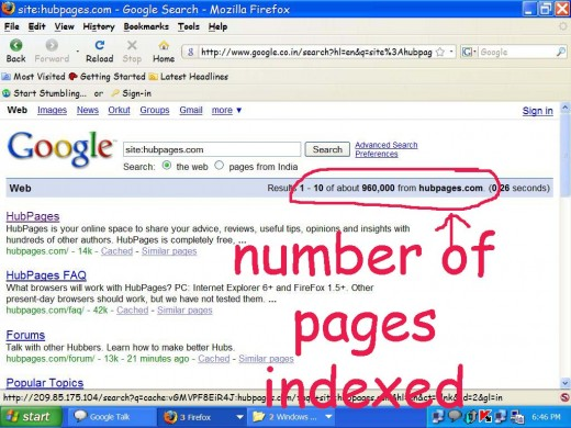 Now hit search button.It will show you the pages of your site currently