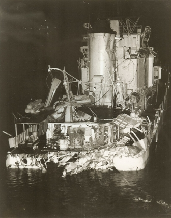 The Frank E Evans was sliced in half, and her bow section sank in less than two minutes. seventy-four sailors lost