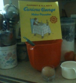 "Making Apple Pancakes with the Recipe from ""Curious George Makes Pancakes"""
