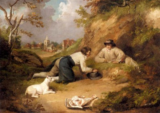 Two men hunting rabbits with their dog, Morland