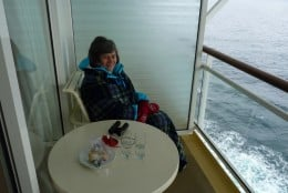 Having a snack on our balcony while we crusie in Antarctica by Elephant Island