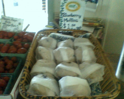 Fresh, delicious blueberry muffins, baked daily when the store is open for business