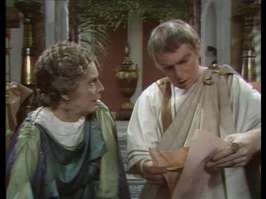 Derek Jacobi as Claudius and Margaret Tyzack as his mother, Antonia