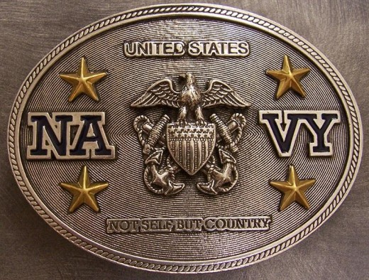 Customized U.S. Navy Pewter Belt Buckle.  This belt buckle is not authorized in uniform.