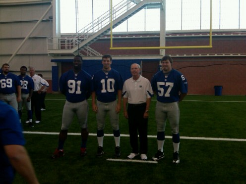Tom Couglin and his New York Giant Team Captains Manning, Tuck, Blackburn