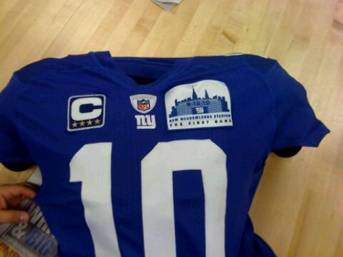 2010 NYG Ticket to the Opening Game - Eli Manning QB jersey with patches