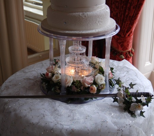 Fountain based Wedding Cake