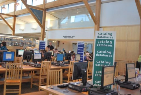 2nd floor of the Bend Public Library: free wifi and more!