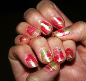 Water marbling is a fun nail art technique to try at home...