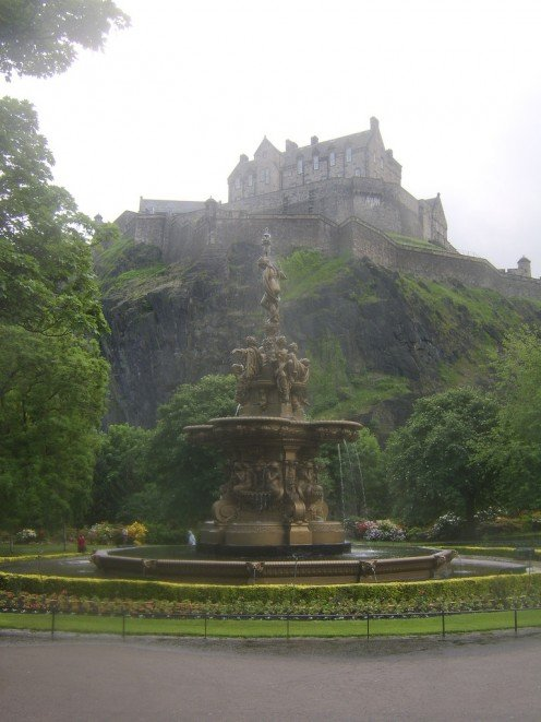 Edinburgh Castle and The Ross Fountain Viewed from Princes Street Gardens