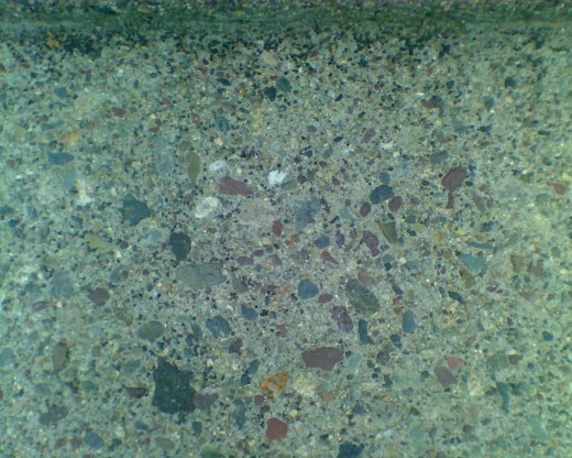 Pattern on the stairs, with pretty stones embedded in them