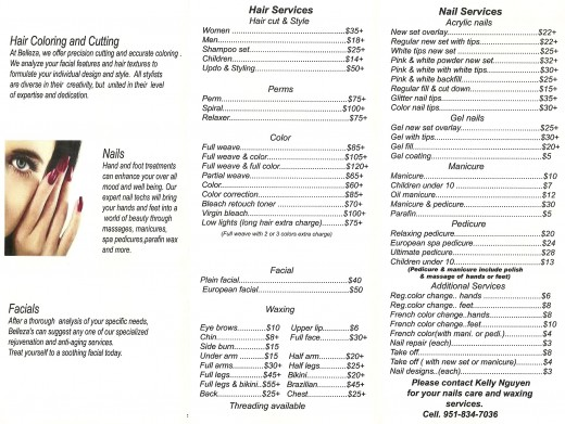 Price list for services at Belleza Hair Salon in Murrieta.