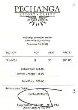 My ticket to the Doobie Brothers concert at Pechanga.