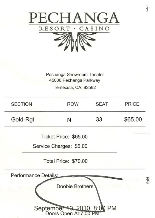 My ticket to the Doobie Brothers concert at Pechanga.