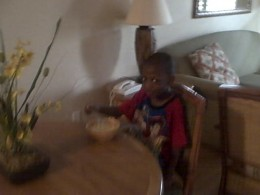 My four year old nephew eating breakfast.