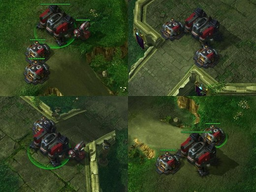 Here you can see 4 views of a typical Terran wall-off. Note how the 3 buildings block off access to the base. Typically, you place your units behind the wall, and shoot the enemy from safety if they decide to attack.