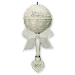 Porcelain Baby Rattle 'Baby's 1st Christmas' Ornament