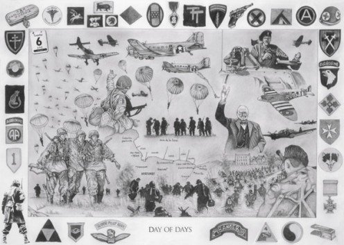 Day of Days by Dave Harris Art. A limited edition Giclee print of the Normandy landings of the 6th June 1944.