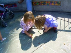 Drawing with chalk at the Tadpole Playground on the Boston Common