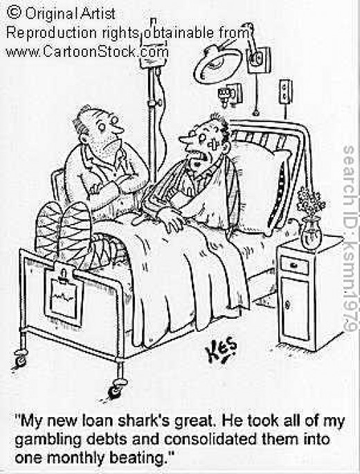 Here is a double meaning cartoon. A catastrophic illness may cause a person to seek out desperate cash. Sometimes the failure to pay a loan shark in a timely manner can end in the hospital.