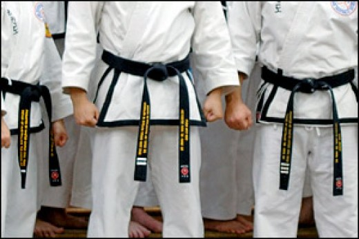 Rhee Tae Kwon-Do 1st, 2nd, and 3rd Dan black belts.  Photo courtsy Wikimedia Commons.  Original uploader was User:Janggeom.