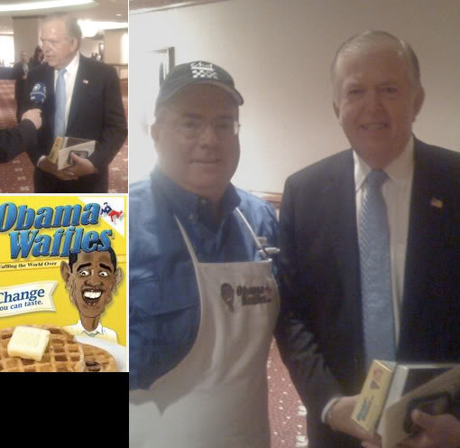 Lou Dobbs happy to be posing next to a man selling Waffle Mixes which has an offensive image of our President on it.                 Keep it classy Lou!!!