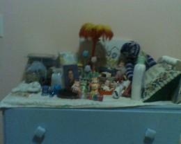Bureau with princess figurines and baskets