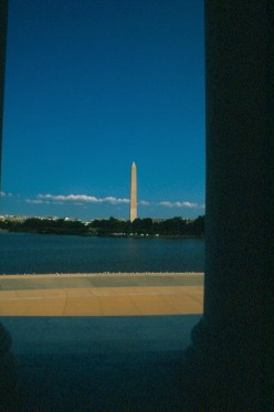 The Washington Monument from the Jefferson Memorial.