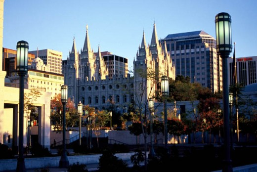Temple Square is located in the heart of downtown Salt Lake City Utah.