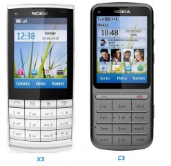 Nokia C3, X3 Touch and Type mobile phones