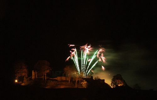 5th November, Kendal Castle lit up by its annual firework display.
