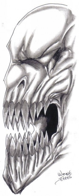 Demon drawing shaded and inked....not a perfect example, but still a demon sketch. Wayne Tully 2010.