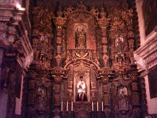 Main Altar of the Spanish Mission Church of San Xavier del Bac in Tucson, AZ