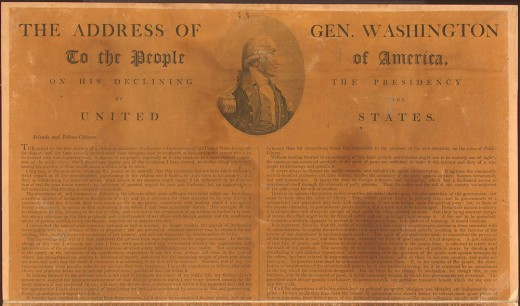 A copy of a broad sheet on which American President George Washington states that he will not continue another term as the President of the United States.