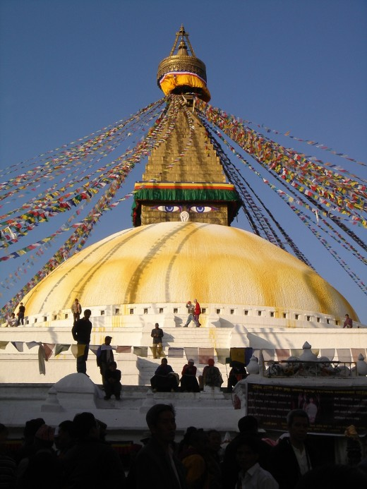 The great Boudhanath stupa near Kathmandu, Nepal.  Nepalese historians trace its construction to the 5th century.  It is one of a number of ancient, sacred landmarks in the area.