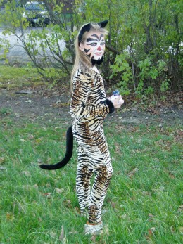 Homemade Halloween cat costume and makeup.