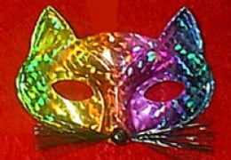 Kaleidescope cat mask. Available from AnniesCostumes.com