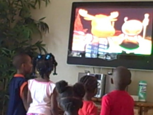 Our -- my sister's and mine -- kids inside our vacation Villa watching The Backyardigans on Netflix DVD.