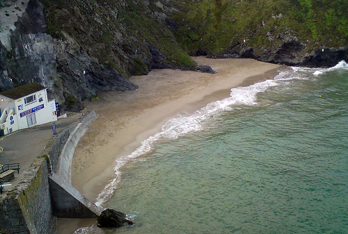 Newquay Beaches, Cornwall.  Tide's Up at Great Western Beach, Newquay