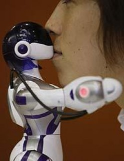 Sega's new Eternal Maiden Actualization robot enters 'love mode' when a human head gets close.
