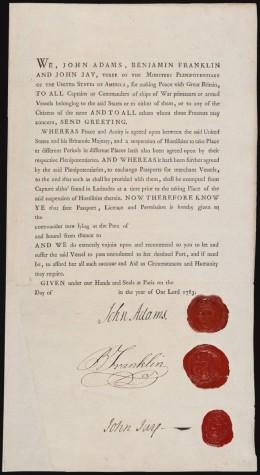 The Passport Allowing Passage for John Adams, Benjamin Franklin, and John Jay.