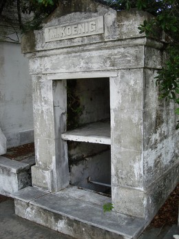 Open tomb in Lafayette Cemetery. Probably being restored.